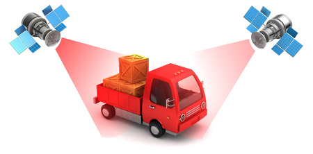 Illustration of satellite cargo location tracking concept